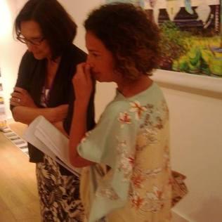 Zahidah Zeytoun Millie introducing works to acclaimed local art historian Salwa Mikdadi