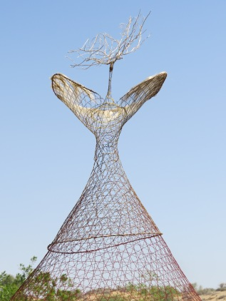 Woman from the mangroves, , 120x134x185, wire weaving, wood, pearl,yellow rope, linen fibers, glue, sand, acrylic on fishing nests, , Geraldine Chansard, 2015, Ras al Khaimah, UAE